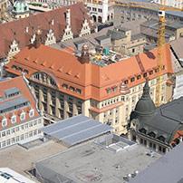 Biberdeckung am Handelshof Leipzig, nach historischem Vorbild restauriert